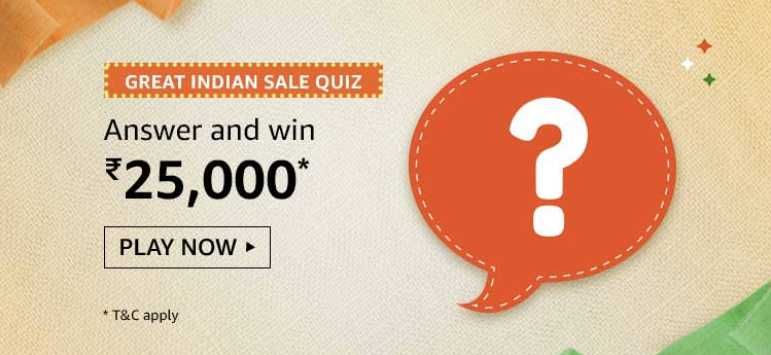 Amazon Great Indian Sale Quiz Answers Today