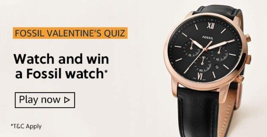 Amazon Fossil Valentines Quiz Answers Today - Play & Win Fossil Watch