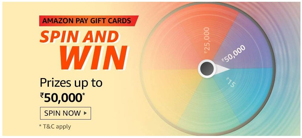 Amazon Pay Gift Cards Spin and Win Quiz Answers - Play & Win ₹50,000